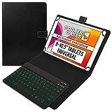 Universale 9', 10', 10.1' Tablet Custodia con Tastiera Retroilluminata, Cooper Backlight Executive Custodia a Libro per Il Trasporto, Tastiera Bluetooth QWERTY Removibile (Nero)