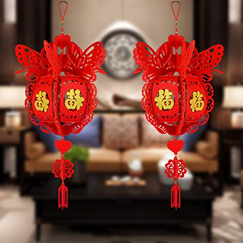 Luwsldirr Chinese New Year Decoration Lucky Fu Letter Red Lantern Pendant Home Wedding red