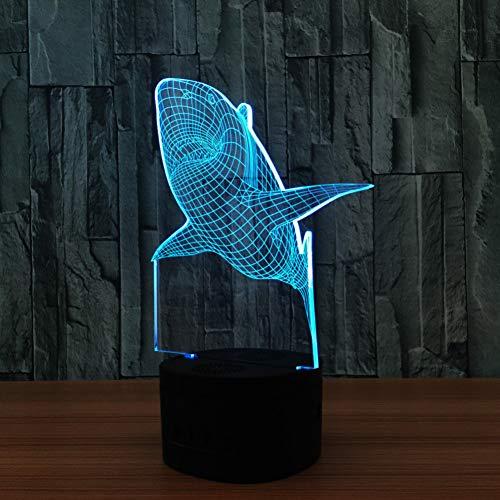 QAZEDC 3D Nachtlicht Shark 3d lampe usb neuheit nachtlicht dekoration lichter led bunt leuchtende kindes geschenk licht motion sensor raumlampe(Spedizione gratuita)
