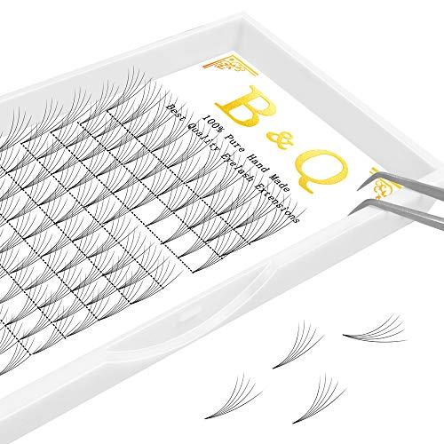 Premade Volume Fans Eyelash Extensions 12 Rows/Tray Short Stem Russian Volumes Lashes Extensions Fans C/D Curl 0.07/0.10 Thickness Eyelash Extensions (5D-D curl-0.10, 13mm)