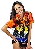 Funky Camisa Blusa Hawaiana, Manga Corta, Beach, Naranja, S
