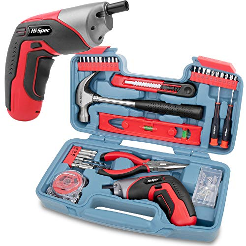 Hi Spec 35 Piece Home DIY Tool Kit with USB Rechargeable Electric Power Screwdriver. Hand Tools & 40...
