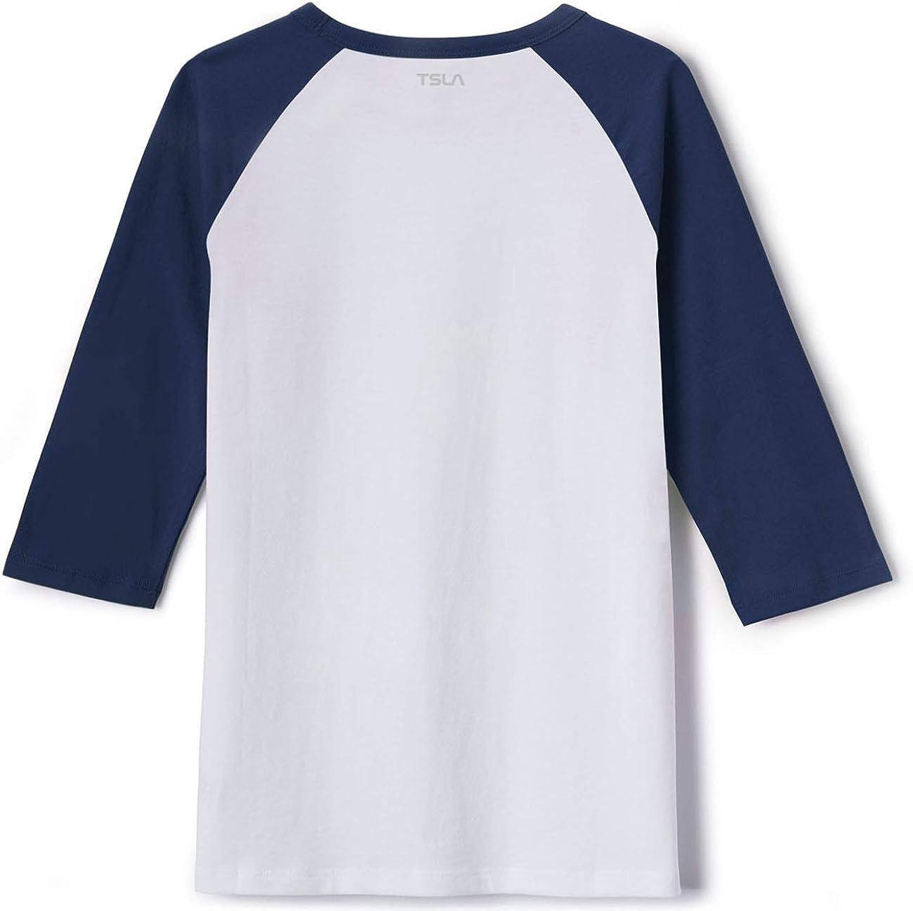 TSLA Kids Dynamic Cotton Raglan Baseball 3//4 Sleeve Active Top T-Shirt