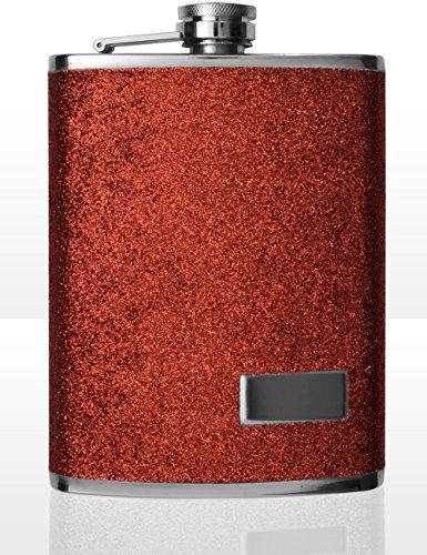 Outdoor Saxx® - Fiaschetta in acciaio inox, design glitterato, con chiusura a vite, 240 ml, colore: Rosso