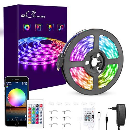 WiFi 5M LED Strip Alexa, SZCLIMAX LED Streifen 5050 RGB Farbwechsel APP Steuerung, Kompatibel mit Alexa/Google Home, Sync zur Musik, LED Lichtband für Deko Zuhause Party DIY [Energieklasse A+]