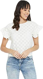 Madame Structured Cotton Boat Neck Womens Top(S21MADM1S11118W-P)