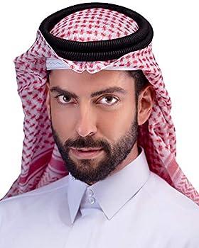 HOMELEX Arab Keffiyeh Shemagh Arabic Muslim Head Turban for Men with Aqel Rope  Red&White