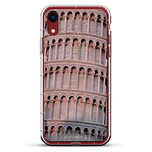 The Leaning Tower of PISA Seethrough | Luxendary Air Series Clear Silicone Case with 3D Printed Design and Air-Pocket Cushion Bumper for iPhone XR (New 2018/2019 Model with 6.1' Screen)