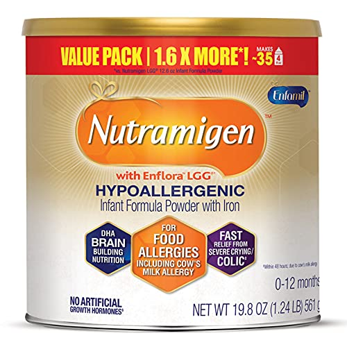 Enfamil Nutramigen Infant Formula, Hypoallergenic and Lactose Free Formula with Enflora LGG, Fast Relief from Severe Crying and Colic, Powder Can, 19.8 Oz
