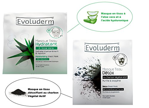 Kit Evoluderm - Masques Visage En Tissu Detox Au Charbon Végétal Actif + Masque Tissu Hydratant à L'Aloé Vera (2 Produits)