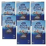 Pack de 6 uds Agua de mar alimentaria Mediterranea, envase de 2 Litros, contiene 78 minerales y oligoelementos, sin necesidad de añadir sal, realza el sabor original de tus comidas