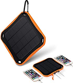 NUNET Nucharger S5600 Solar Charger 5600mAh 2USB Input 2A Output 2.1A Power Bank Portable Dustproof Shatter-Resistant Fire-Proof LED Lighting