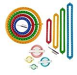 Knitting Loom Craft Kit - Long Knitting Loom and Round Knitting Loom - Include Hook Needle, Pompom Maker (4 Long Loom & 4 Round Loom)