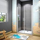 185 cm Box doccia per Nicchia Porta Battente 2 Ante Saloon Cristallo Temperato 5 mm Trasparente Profilo in Alluminio Processo di Elettroforesi 85 cm