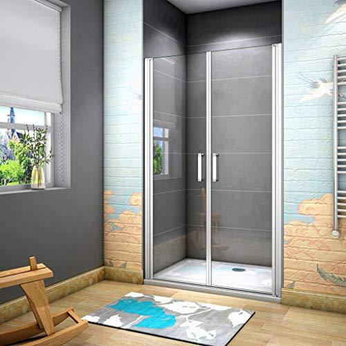 185 cm Box doccia per Nicchia Porta Battente 2 Ante Saloon Cristallo Temperato 5 mm Trasparente Profilo in Alluminio Processo di Elettroforesi 80 cm