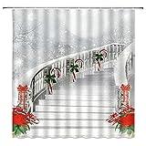AETTP Weihnachten Duschvorhang Weihnachtsmann Badezimmer Duschvorhang Dekor Wasserdichtes Gewebe Bad Weihnachtsmann Geschenke Senden 180 * 180cm