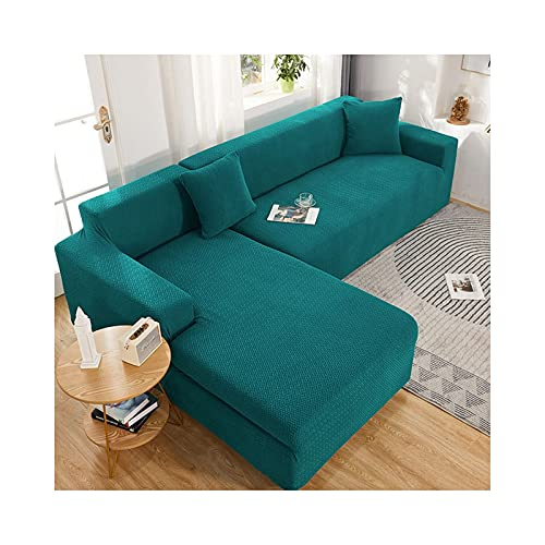 Daesar Fundas Elasticas Sofa,Funda de Sofá Reclinable 1 Plaza,Color Sólido Fundas de Sofa Azul Verde,1 Plaza(90-140CM)