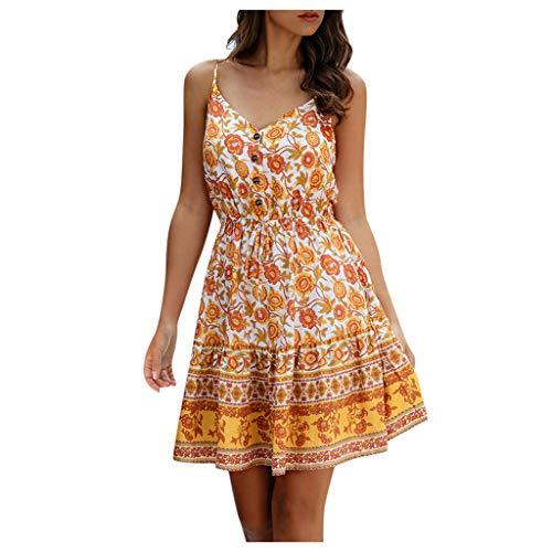 MRULIC Damen Kleider Ohne Arm V-Ausschnitt BöHmen Drucken A-Line Minikleid AbendkleidRockabilly Kleid Cocktailkleider Sommerkleider Strandkleider LäSsige Kleid(Gelb,XL)