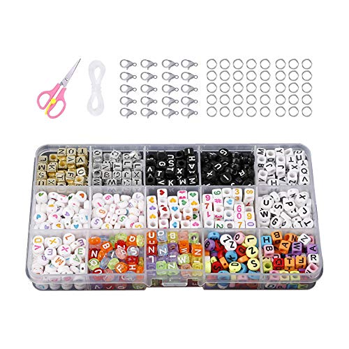 Hanbee Set di Perline Fai da Te per A-Z Lettere Perline Artigianali con Lettere Cube Perline 15 Stili Artigianato di Gioielli per Bracciale Collana Gioielli Kit di Creazione Fai-da-Te