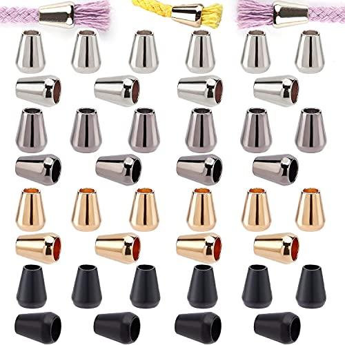 Paquete de 40 topes de metal, con un agujero único para cordones, cordón para la mochila, topes de paracord, 1 agujero, cordón, cordón, cordón, ropa.