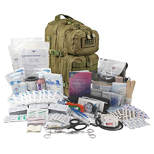 Luminary Tactical Trauma Kit Fully Stocked First Aid Kit Backpack EMS/EMT First Responder Medical Bug Out Bag for Preppers Professionals and Outdoorsman (Olive Drab)