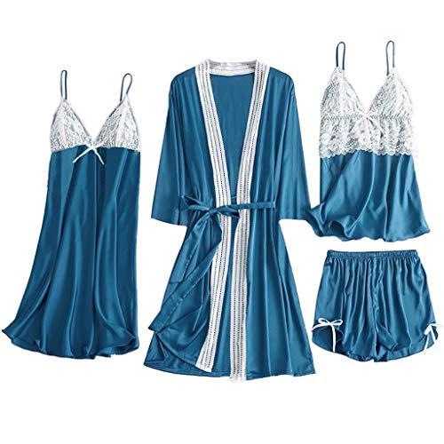 Fossen MuRopa 5 Piezas Camisón Sexy Mujer Conjuntos de Lencería Encaje, Pijamas Mujer Sexy Verano - Camisón Vestido + Batas + Braguita + Pantalones + Pijama, Ropa de Dormir (Azul-A, XXXL)