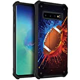 CasesOnDeck Matte Case Compatible with [Samsung Galaxy S10 (6.1')] [Stand Guard] Unique Dual Layer Design Case with Kickstand (Football)