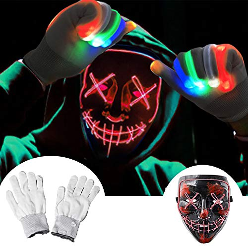 Halloween Scary Mask with LED Gloves Kit, LED Costume Mask EL Wire Light Up Mask for Halloween Costume Festival Cosplay(Red)