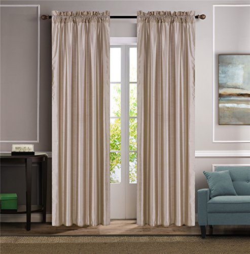 """GorgeousHome (MR2) Versatil 2 Panel Window Curtain Faux Silk Rod Pocket Semisheer Treatment Unlined in Solid Colors and in 3 sizes (84"""", TAUPE)"""