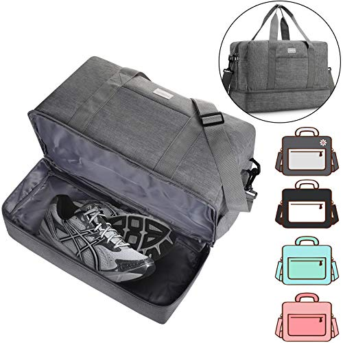 Gym Bag Shoes Compartment Shoulder Bag Travel Duffel Bag Swim Bag for Women and Men (Gray XL)