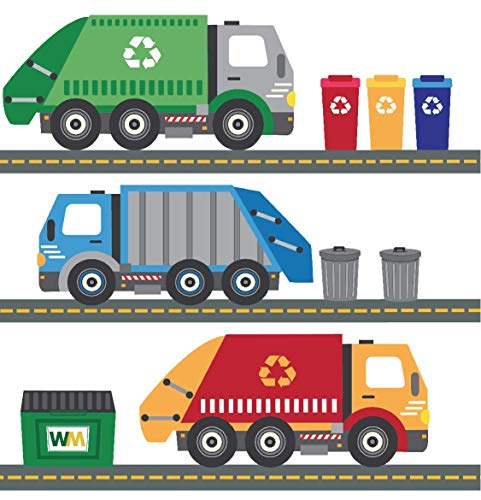 Garbage Trucks Wall Decals, Recycling Trucks Decals with 15 Ft of Gray Straight...