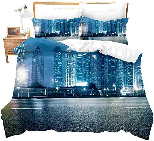 Ahooseso Funda Nórdica 3D Para Niños Vista A La Calle De La Arquitectura Moderna De La Ciudad De Londres 240 X 220 Cm Microfibra Suave Ropa De Cama(1 Funda Nórdica + 2 Fundas De Almohada 50X75Cm)Cre