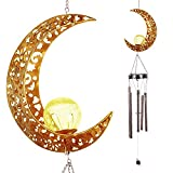 DRESSPLUS Solar Wind Chimes for Outside Hanging Outdoor Decor,Moon Crackle Glass Ball,Warm LED Light Sympathy Wind Chime,Unique Memorial Gift with Metal Tubes,Waterproof for Garden Yard Patio Lawn