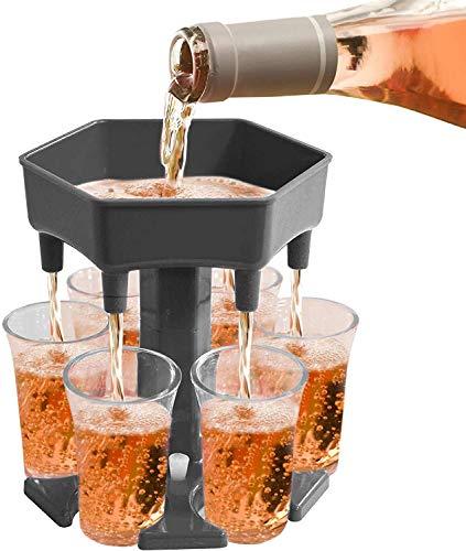 Alihoo 6 Schnapsglasspender und -halter, Shot Dispenser Six Ways, Bar Shot Dispenser, Cocktailspender, Dispenser mit Slogan, Trinkspiele Wine Dispenser einschließlich 6 Silikonstopfen (Transparent)