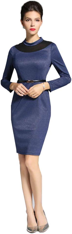 CVCCV Women's Autumn Step Skirt with LongSleeved Knit Dress in The Long Temperament Ol Business Wea