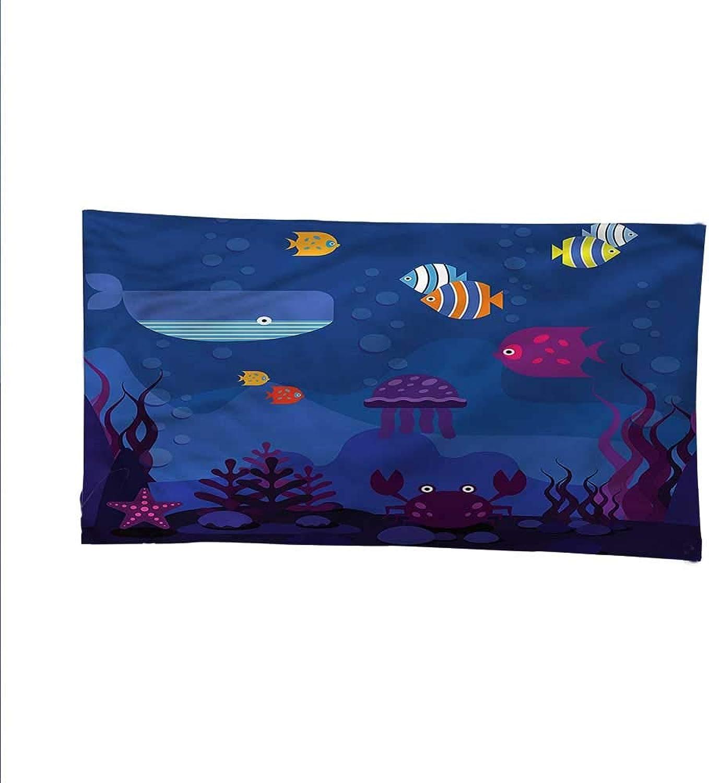 Cartoonocean tapestrylarge tapestryAquarium Fish Whale 93W x 70L Inch