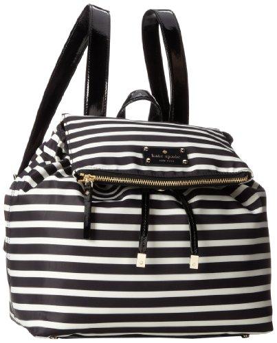 kate spade new york Nylon Stripe Patten Backpack,Black/Cream,One Size