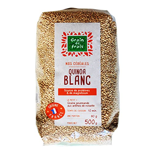 Grain de frais Quinoa sans gluten | Quinoa complet d'origin FRANCE | farine de quinoa | sachet de 0.5 kg cuisiné en 10 minutes | source de protéines et de magnésium