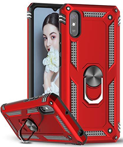 LeYi Funda Xiaomi Redmi 9A con [2-Unidades] Cristal Vidrio Templado,Armor Carcasa con 360 Grados Anillo iman Soporte Hard PC y Silicona TPU Bumper Antigolpes Case para Movil Redmi 9A,Rojo