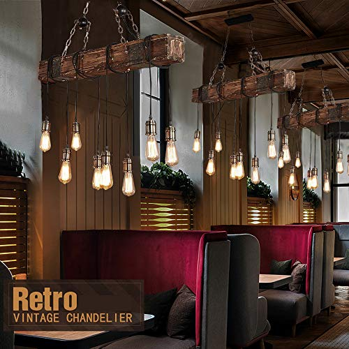 KJLARS Farmhouse Chandelier Wood Hanging Industrial Pendant Lighting Vintage Ceiling Light Fixture 8 Light for Pool Table Kitchen Island Living Dining Room Bedroom Bar Retro Hanging Lamp