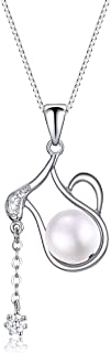 PEARLOVE Women's 925 Sterling Silver 12 Constellation Horoscope Zodiac Pendant Necklace, Pearl Pendant Necklace Birthday Gift With Box