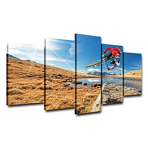MCZQT muurkunst fotokader woonkamer 5 panelen mountainbike zonneschijn landschap decoratie poster Hd gedrukt schilderij 30x40cmx2 30x60cmx2 30x80cmx1