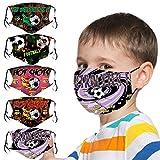 5 Stück Kinder Mundschutz Multifunktionstuch 3D Cartoon Druck Fußball Schmetterling Print Mund und Nasenschutz Atmungsaktive Staubdicht Baumwollmischung Stoff Waschbar Mund-Nasenschutz Halstuch