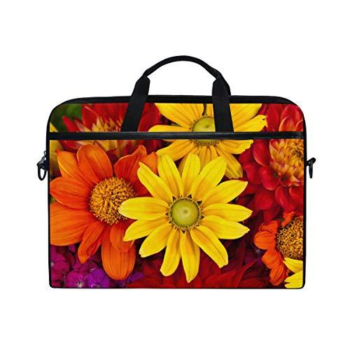 EZIOLY Gerbera Autumn Flower Floral Laptop Shoulder Messenger Bag Case Sleeve for 13 Inch to 14 inch Laptop