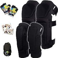 Innovatief Zacht Beschermingsset voor Kinderen I Kind Kniebeschermers en Elleboogbeschermers met Fietshandschoenen I...