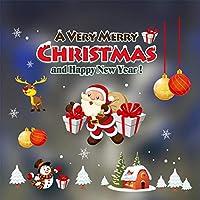 クリスマスデコレーションガラススタティックステッカークリスマスパーティーホームクリスマス漫画DIYスノースノーフレークウィンドウステッカー#J7