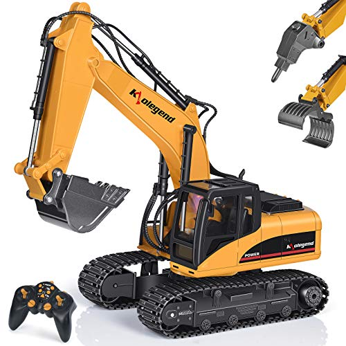 Remote Control Excavator Toy 1/14 Scale RC Excavator, Full Functional Construction Vehicles 15 Channel Rechargeable RC Truck with Metal Shovel and Lights Sounds (Yellow)