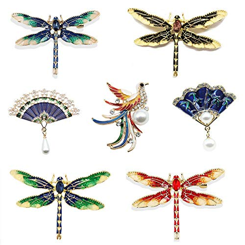 Primst 7 Pieces Enamel Exquisite Colored Dragonfly Brooch Decor for Women, Vintage Collar Brooch Pin, Alloy Material, Red Box Package