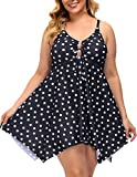 Vintage Polka Dot Pin Up Swimsuit Retro One Piece Skirtini Cover Up Swimdress 18W