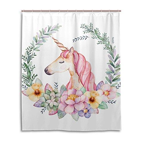 MyDaily Floral Einhorn-Duschvorhang, 152,4 x 182,9 cm, schimmelresistent & wasserdicht, Polyester Dekoration Badezimmer Vorhang